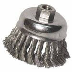 Knot Wire Cup Brush, 4 in Dia., 5/8-11 Arbor, .014 in Carbon Steel