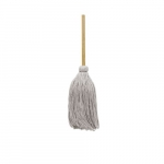 White, Cotton Cut-End Deck Mop Head With Handle-#16