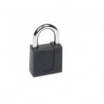 Resettable Keyless Padlock, 4-Dial, 1-in Shackle, Black