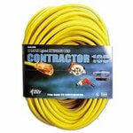 Yellow Vinyl Extension Cord, 50 Feet with 1 Outlet