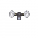 Dual Head Screw-In Security Light Fixture w/ Motion Sensor, 110 Degree, E26, Bronze