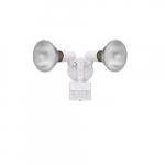 Dual Head Screw-In Security Light Fixture w/ Motion Sensor, 180 Degree, E26, White