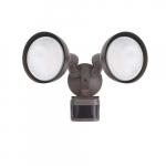 Dual Head Screw-In Security Light Fixture w/ Motion Sensor, 270 Degree, E26, Bronze