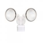 Dual Head Screw-In Security Light Fixture w/ Motion Sensor, 270 Degree, E26, White