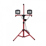 40W LED Work Light Tripod w/ 10-ft Cord, Dual Head, 4000 lm, 5000K, Red