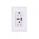 3.1 Amp Duplex Outlet w/ 2 USB Ports, White