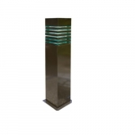 20W Square Stripe LED Bollard Pathway Light, Steel, 3000K, Bronze