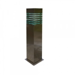 20W Square Stripe LED Bollard Pathway Light, Steel, 3000K, Bronze