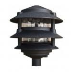 "4W 6"" 3-Tier LED Pagoda Pathway Light w/ 1/2"" Base, 3000K, Black"