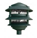 "4W 6"" 3-Tier LED Pagoda Pathway Light w/ 1/2"" Base, 3000K, Green"