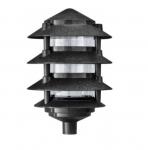 "6W 6"" 4-Tier LED Pagoda Pathway Light w/ 1/2"" Base, 3000K, Black"
