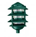 "6W 6"" 4-Tier LED Pagoda Pathway Light w/ 1/2"" Base, 3000K, Green"