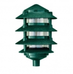 "11W 6"" 4-Tier LED Pagoda Pathway Light w/ 1/2"" Base, 3000K, Green"