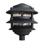 "4W 10"" 3-Tier LED Pagoda Pathway Light w/ 1/2"" Base, 3000K, Black"