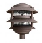 """4W 10"""" 3-Tier LED Pagoda Pathway Light w/ 1/2"""" Base, 3000K,  Bronze"""