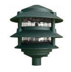 "4W 10"" 3-Tier LED Pagoda Pathway Light w/ 1/2"" Base, 3000K,  Green"