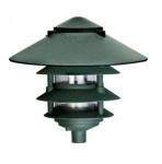 "6W 10"" 4-Tier LED Pagoda Pathway Light w/ 3"" Base, 3000K, Green"