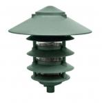 "6W 10"" 5-Tier LED Pagoda Pathway Light w/ 1/2"" Base, 3000K, Green"