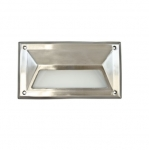 9W 9-in LED Recessed Step Light w/Hood, G24 Bulb, 5000K, Stainless Steel