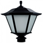 30W Large Decorative LED Post Top Light w/Frosted Glass, Verde Green