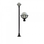 16W 10 Inch Single Globe LED Light Post Fixture w/Polycarbonate Lens, Black