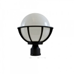 16W 10-in Globe LED Light Post Top Fixture w/ Polycarbonate Lens, Black