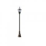 75W 1 Light Clear Top Decorative Base Acorn LED Lamp Post Fixture, Bronze
