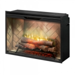 36-in 2575W LED Built-in Electric Firebox, Herringbone Brick