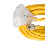 100 ft Yellow 12/3 SJTW Lighted End Triple Tap Extension Cord