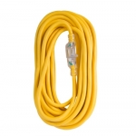 100 ft Yellow 12/3 SJTW Lighted End Extension Cord