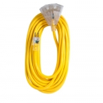 50 ft Yellow 12/3 SJTW Lighted End Triple Tap Extension Cord