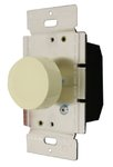 Light Almond Three-Way Incandescent Full Rotary Dimmer w/ Push On/Off