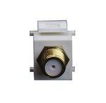 Light Almond F-Type Gold Female-to-Female Bulkhead Audio/Video Connector