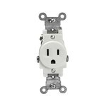 Almond Commercial Grade Side Wired 2-Pole Single Receptacle