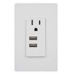 White Dual USB Tamper Resistant Single Receptacle