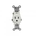 Ivory Tamper Resistant 2-Pole Single Commercial Receptacle