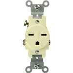 Ivory Commercial Grade Side Wired 2-Pole High Voltage Single Receptacle