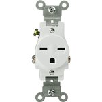White 2-Pole High Voltage Single Commercial Receptacle