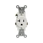 Almond Commercial Grade Side Wired 2-Pole 20A Single Receptacle
