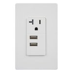 White Interchangeable Dual USB Tamper Resistant 20A Single Receptacle