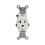 White Commercial Grade Side Wired 2-Pole 20A Single Receptacle