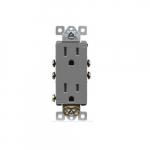 15 Amp Tamper Resistant Duplex Receptacle, Gray