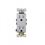 15 Amp Tamper Resistant Duplex Receptacle, Silver