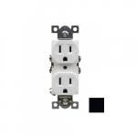 15 Amp Duplex Receptacle, Commercial Grade, Black