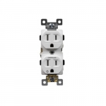 15 Amp Tamper Resistant Half Controlled Duplex Receptacle, White
