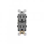 15 Amp Tamper Resistant Residential Grade Duplex Receptacle, Gray
