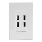White 4-Port Back & Side Wired USB Charger Duplex Receptacle