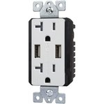 White Dual USB Charger 20A Duplex Tamper Resistant Receptacle