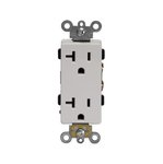 20 Amp Duplex Decora Receptacle, Push In & Side Wired, White