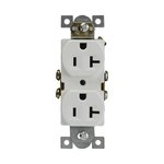 20 Amp Tamper & Weather Resistant Duplex Receptacle, White, Self-Grounding